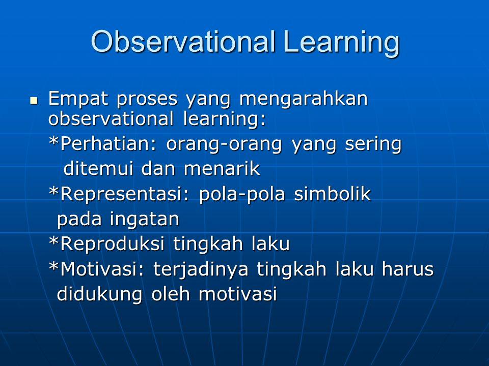 Observational Learning Empat proses yang mengarahkan observational learning: Empat proses yang mengarahkan observational learning: *Perhatian: orang-o
