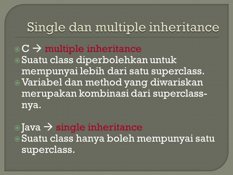  C  multiple inheritance  Suatu class diperbolehkan untuk mempunyai lebih dari satu superclass.  Variabel dan method yang diwariskan merupakan kom