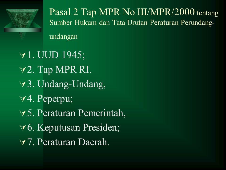 Pasal 2 Tap MPR No III/MPR/2000 tentang Sumber Hukum dan Tata Urutan Peraturan Perundang- undangan  1.