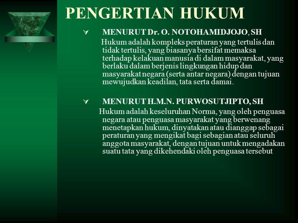 PENGERTIAN HUKUM  MENURUT Dr.O.