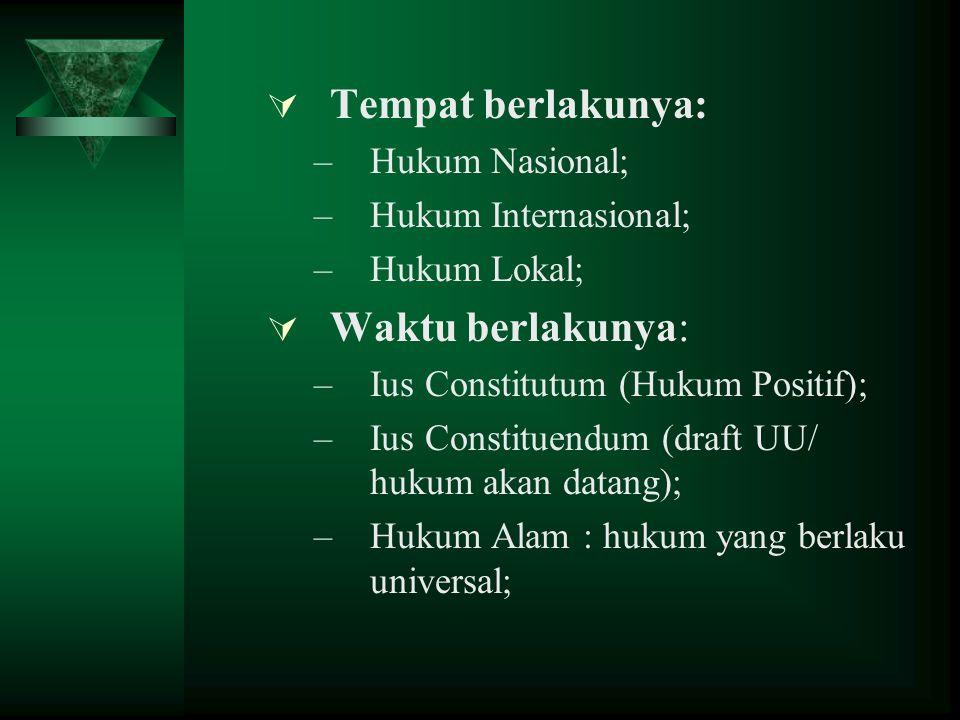  Tempat berlakunya: –Hukum Nasional; –Hukum Internasional; –Hukum Lokal;  Waktu berlakunya: –Ius Constitutum (Hukum Positif); –Ius Constituendum (draft UU/ hukum akan datang); –Hukum Alam : hukum yang berlaku universal;
