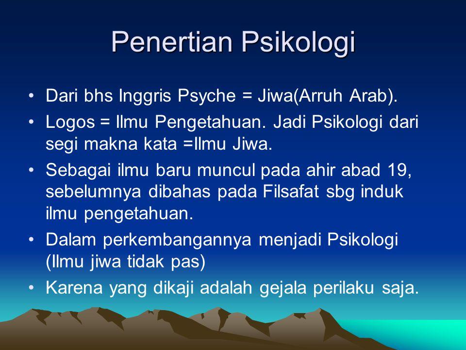 Penertian Psikologi Dari bhs Inggris Psyche = Jiwa(Arruh Arab). Logos = Ilmu Pengetahuan. Jadi Psikologi dari segi makna kata =Ilmu Jiwa. Sebagai ilmu