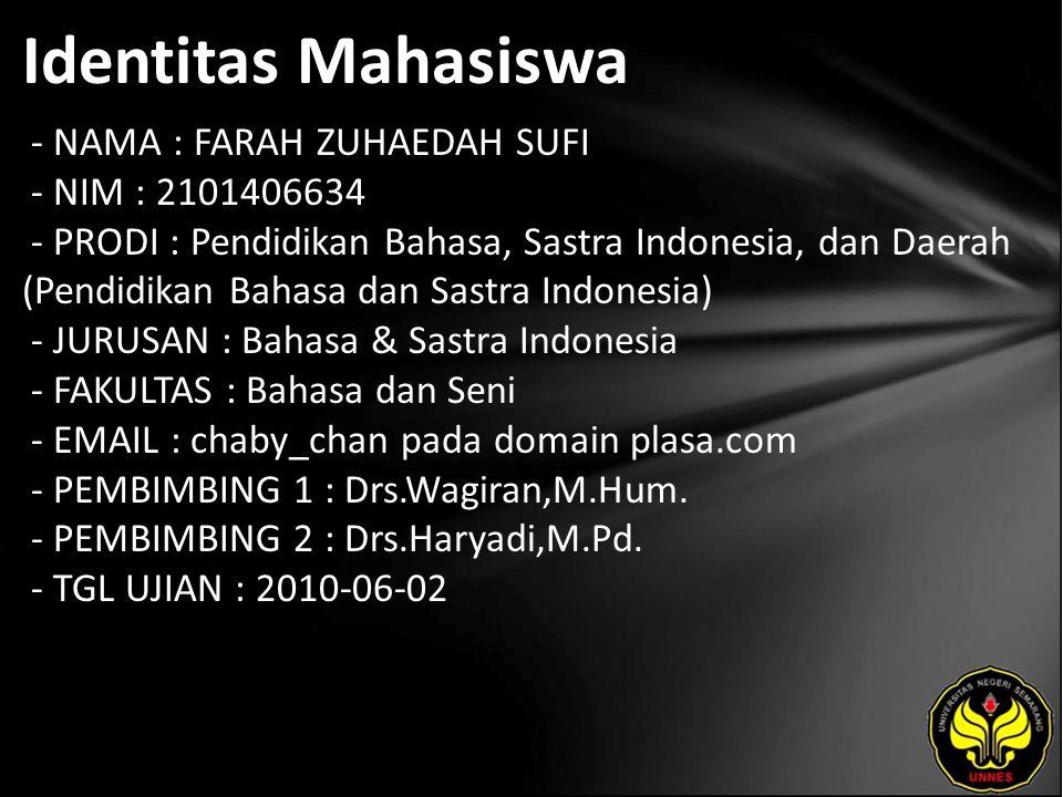 Identitas Mahasiswa - NAMA : FARAH ZUHAEDAH SUFI - NIM : 2101406634 - PRODI : Pendidikan Bahasa, Sastra Indonesia, dan Daerah (Pendidikan Bahasa dan Sastra Indonesia) - JURUSAN : Bahasa & Sastra Indonesia - FAKULTAS : Bahasa dan Seni - EMAIL : chaby_chan pada domain plasa.com - PEMBIMBING 1 : Drs.Wagiran,M.Hum.