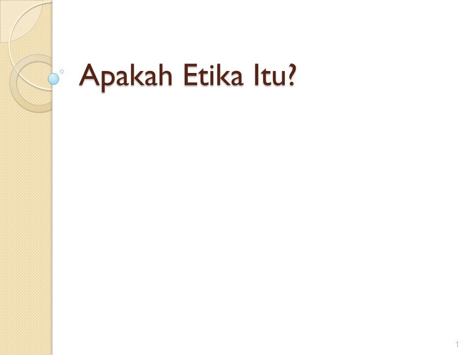 Ethos, Etika, dan Moral Kata Yunani ethos dalam bentuk tunggal memiliki sejumlah arti: tempat tinggal yang biasa; padang rumput, kandang; kebiasaan, adat; akhlak, watak; perasaan, sikap, cara berpikir Dalam bentuk jamak (ta etha) berarti: adat kebiasaan Dari asal-usul kata-kata ini, etika berarti: ilmu tentang apa yang biasa dilakukan atau ilmu tentang adat kebiasaan Kata yang cukup dekat dengan etika adalah moral , yang berasal dari bahasa Latin mos (jamak: mores), yang juga bermakna: kebiasaan, adat 2