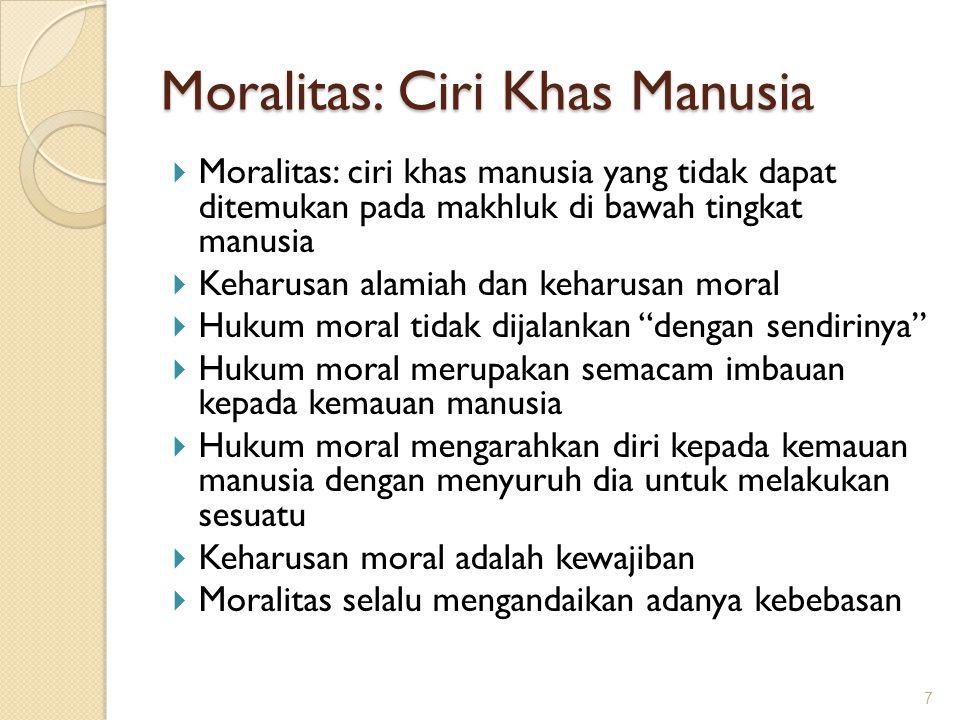 Moralitas: Ciri Khas Manusia  Moralitas: ciri khas manusia yang tidak dapat ditemukan pada makhluk di bawah tingkat manusia  Keharusan alamiah dan k