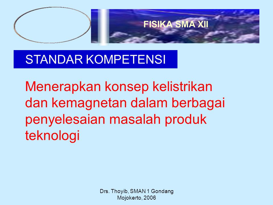 Drs. Thoyib, SMAN 1 Gondang Mojokerto, 2006 STANDAR KOMPETENSI Menerapkan konsep kelistrikan dan kemagnetan dalam berbagai penyelesaian masalah produk