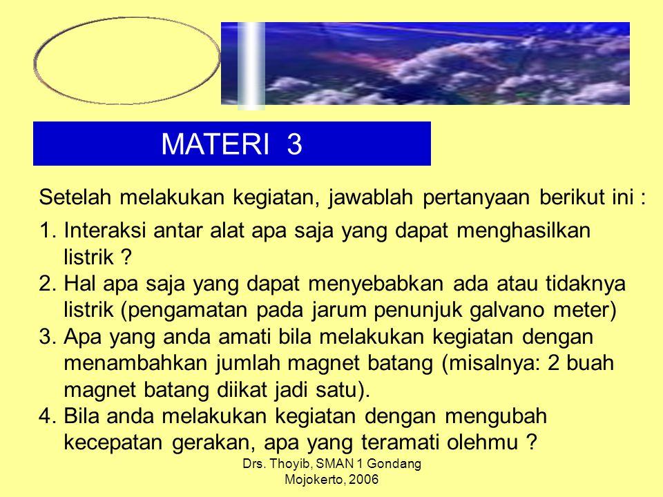 Drs. Thoyib, SMAN 1 Gondang Mojokerto, 2006 MATERI 3 Setelah melakukan kegiatan, jawablah pertanyaan berikut ini : 1.Interaksi antar alat apa saja yan