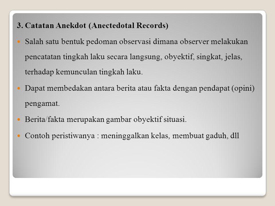 3.Catatan Anekdot (Anectedotal Records) Salah satu bentuk pedoman observasi dimana observer melakukan pencatatan tingkah laku secara langsung, obyekti