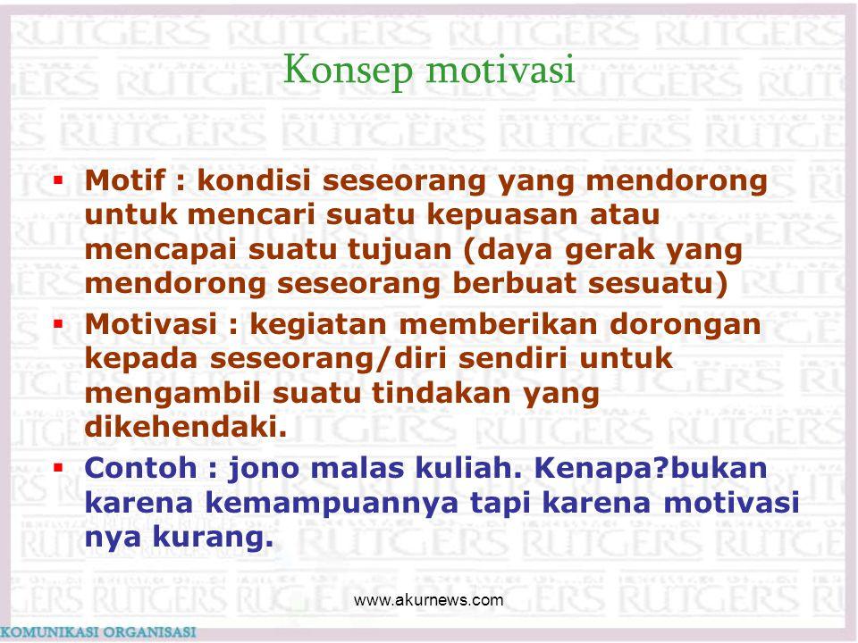 Konsep motivasi  Motif : kondisi seseorang yang mendorong untuk mencari suatu kepuasan atau mencapai suatu tujuan (daya gerak yang mendorong seseoran
