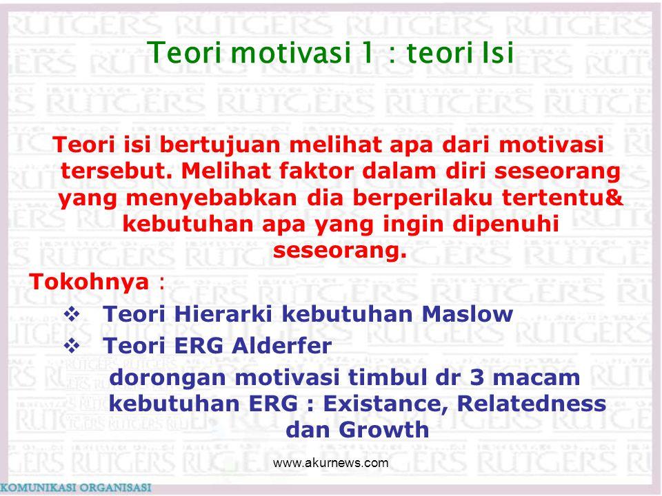 Teori motivasi 1 : teori Isi Teori isi bertujuan melihat apa dari motivasi tersebut. Melihat faktor dalam diri seseorang yang menyebabkan dia berperil