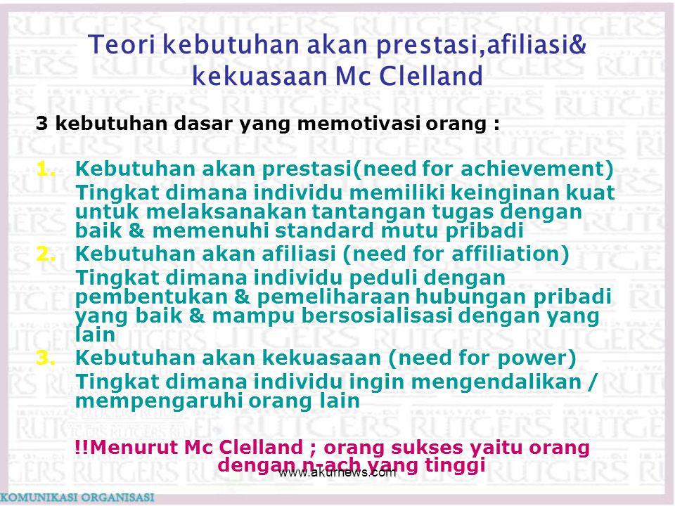 Teori kebutuhan akan prestasi,afiliasi& kekuasaan Mc Clelland 3 kebutuhan dasar yang memotivasi orang : 1.Kebutuhan akan prestasi(need for achievement