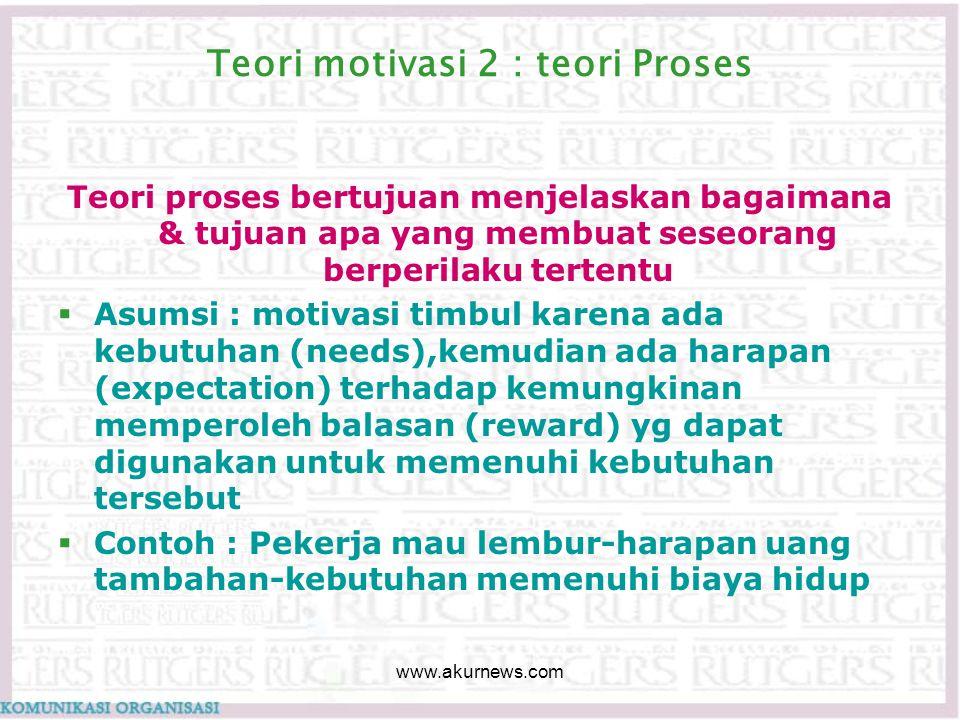 Teori motivasi 2 : teori Proses Teori proses bertujuan menjelaskan bagaimana & tujuan apa yang membuat seseorang berperilaku tertentu  Asumsi : motiv