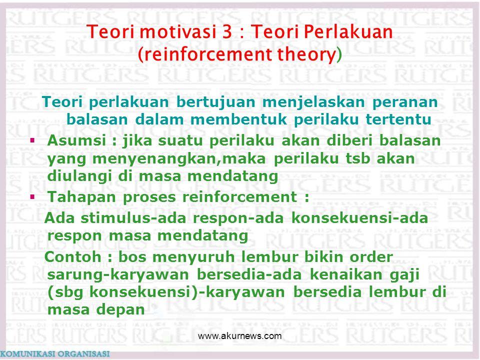 Teori motivasi 3 : Teori Perlakuan (reinforcement theory) Teori perlakuan bertujuan menjelaskan peranan balasan dalam membentuk perilaku tertentu  As