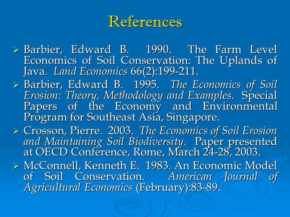 References  Barbier, Edward B.1990.