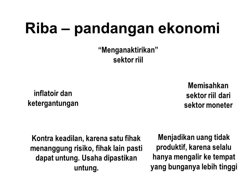 Riba – pandangan ekonomi Kontra keadilan, karena satu fihak menanggung risiko, fihak lain pasti dapat untung.
