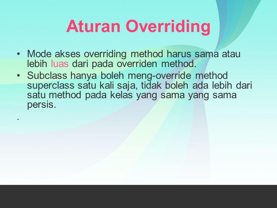 Aturan Overriding Mode akses overriding method harus sama atau lebih luas dari pada overriden method. Subclass hanya boleh meng-override method superc
