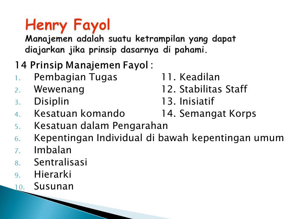 14 Prinsip Manajemen Fayol : 1. Pembagian Tugas 11. Keadilan 2. Wewenang12. Stabilitas Staff 3. Disiplin13. Inisiatif 4. Kesatuan komando14. Semangat