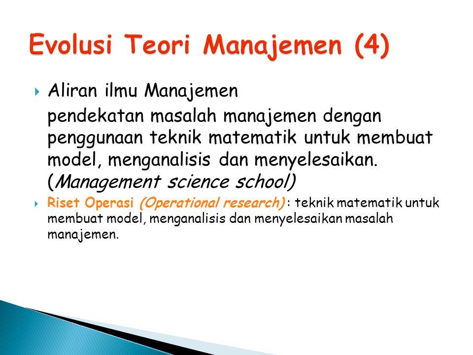 Aliran ilmu Manajemen pendekatan masalah manajemen dengan penggunaan teknik matematik untuk membuat model, menganalisis dan menyelesaikan. (Manageme