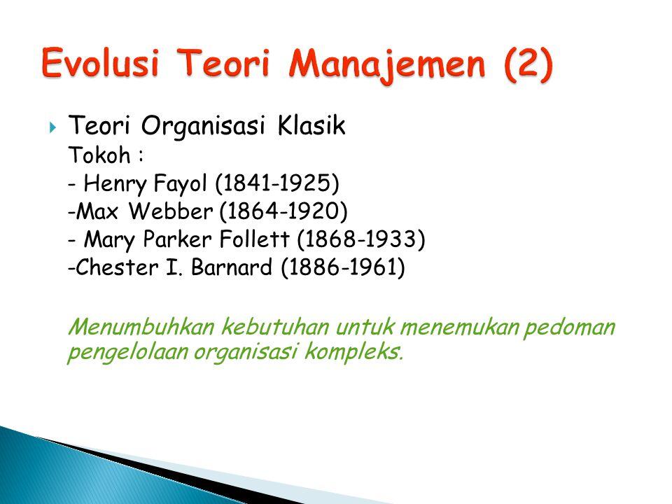  Teori Organisasi Klasik Tokoh : - Henry Fayol (1841-1925) -Max Webber (1864-1920) - Mary Parker Follett (1868-1933) -Chester I. Barnard (1886-1961)