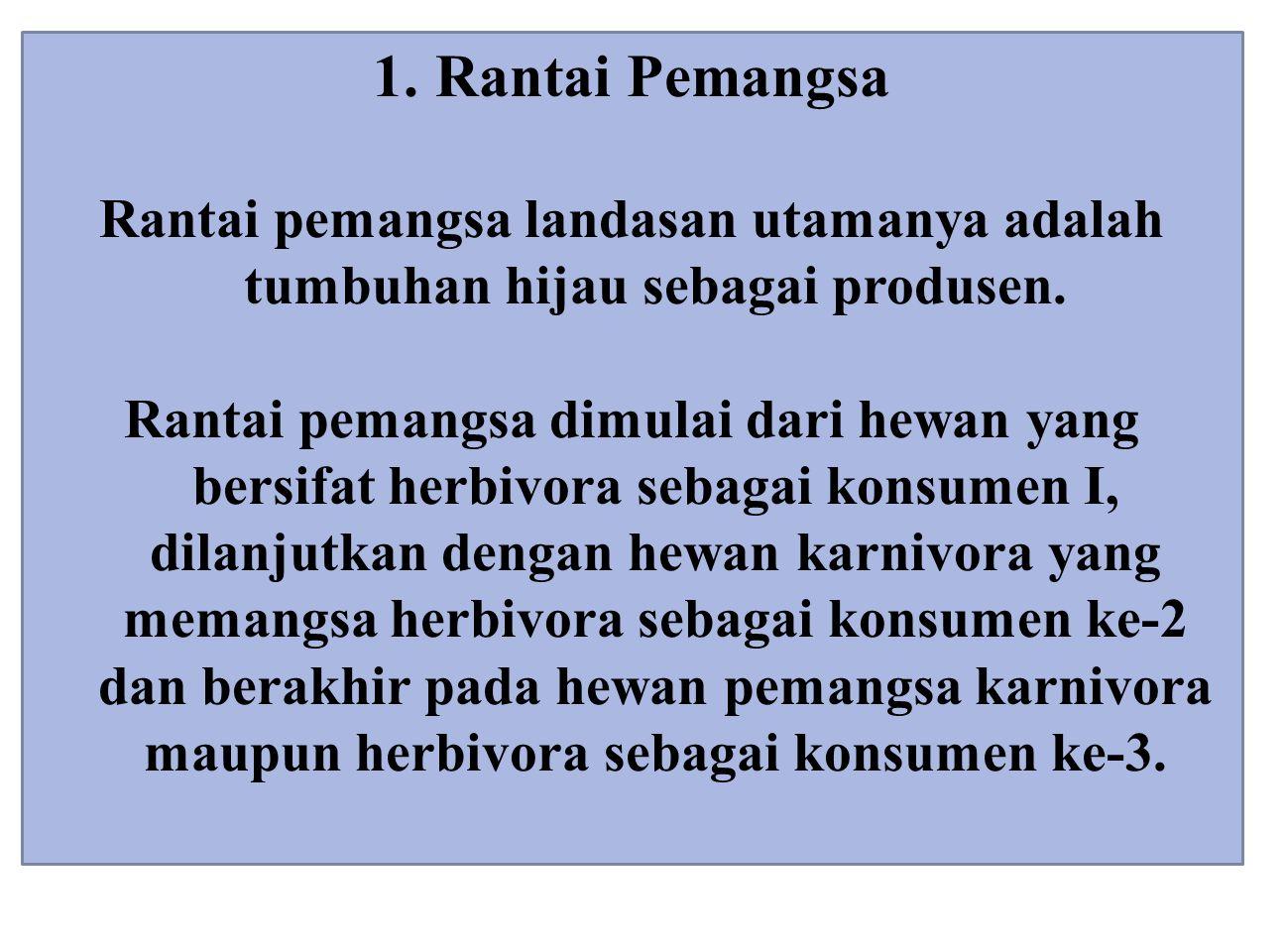1. Rantai Pemangsa Rantai pemangsa landasan utamanya adalah tumbuhan hijau sebagai produsen. Rantai pemangsa dimulai dari hewan yang bersifat herbivor