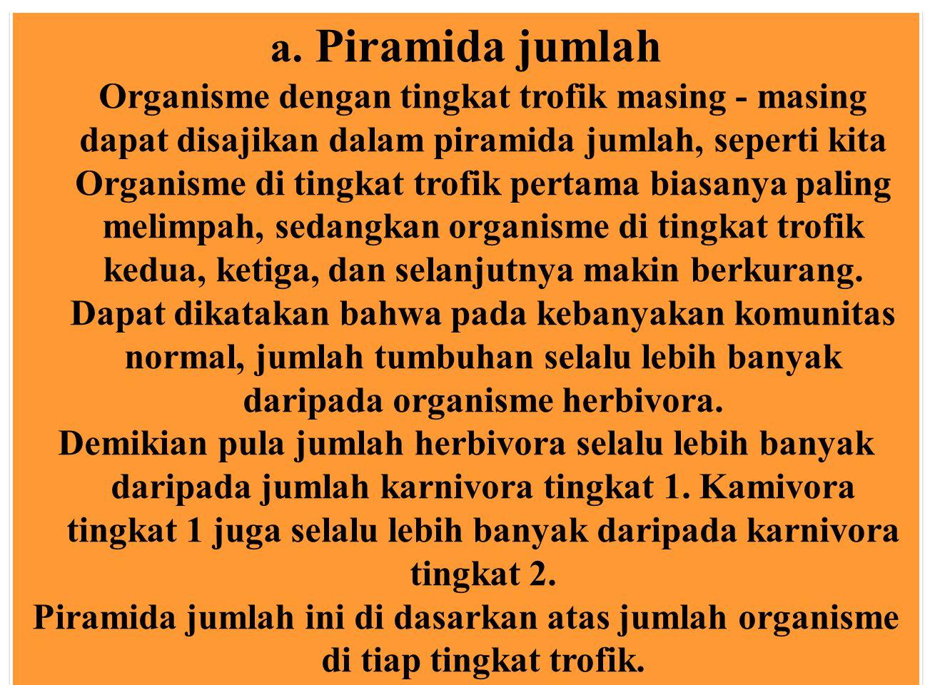 a. Piramida jumlah Organisme dengan tingkat trofik masing - masing dapat disajikan dalam piramida jumlah, seperti kita Organisme di tingkat trofik per