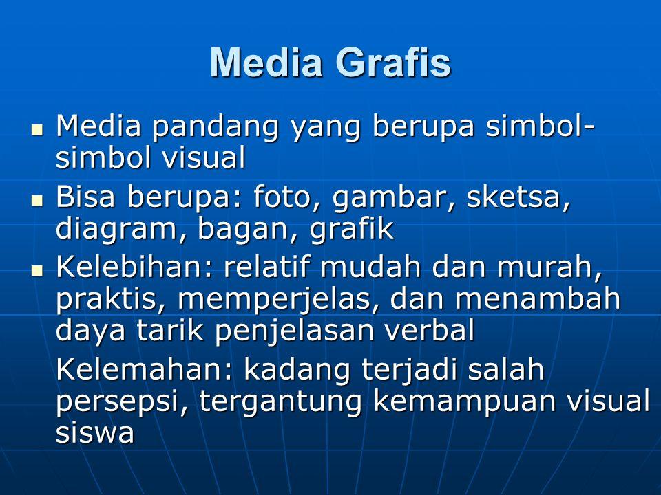 Media Grafis Media pandang yang berupa simbol- simbol visual Media pandang yang berupa simbol- simbol visual Bisa berupa: foto, gambar, sketsa, diagra