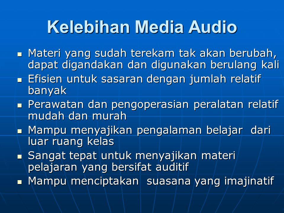 Kelebihan Media Audio Materi yang sudah terekam tak akan berubah, dapat digandakan dan digunakan berulang kali Materi yang sudah terekam tak akan beru