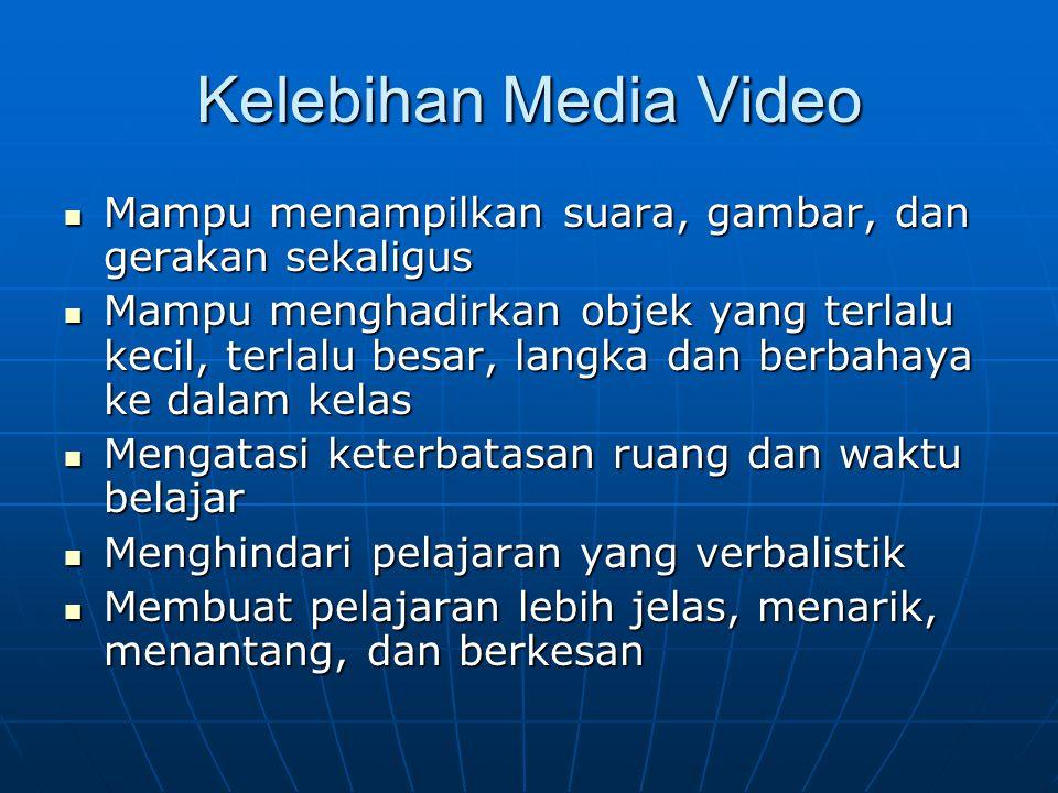 Kelebihan Media Video Mampu menampilkan suara, gambar, dan gerakan sekaligus Mampu menampilkan suara, gambar, dan gerakan sekaligus Mampu menghadirkan
