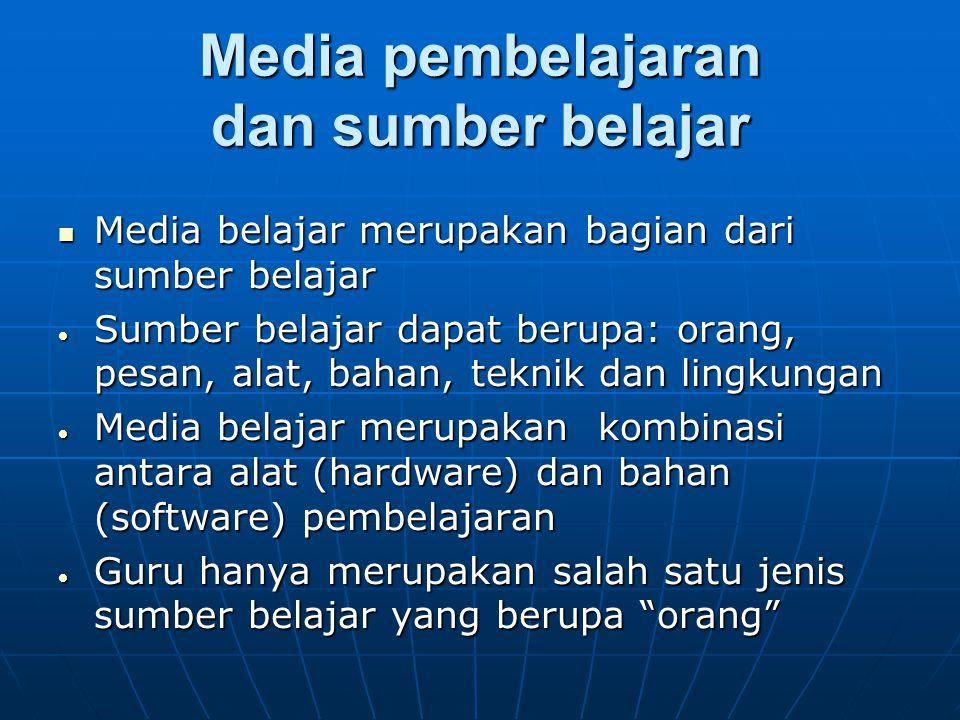 Media pembelajaran dan sumber belajar Media belajar merupakan bagian dari sumber belajar Media belajar merupakan bagian dari sumber belajar  Sumber b