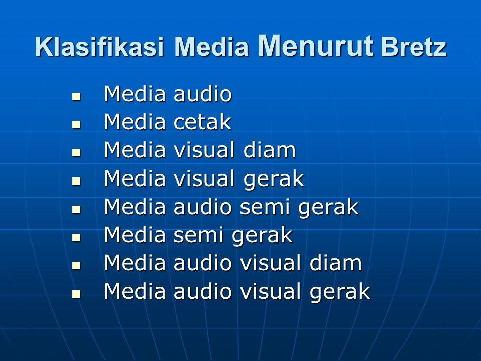 Klasifikasi Media Menurut Bretz Media audio Media audio Media cetak Media cetak Media visual diam Media visual diam Media visual gerak Media visual ge