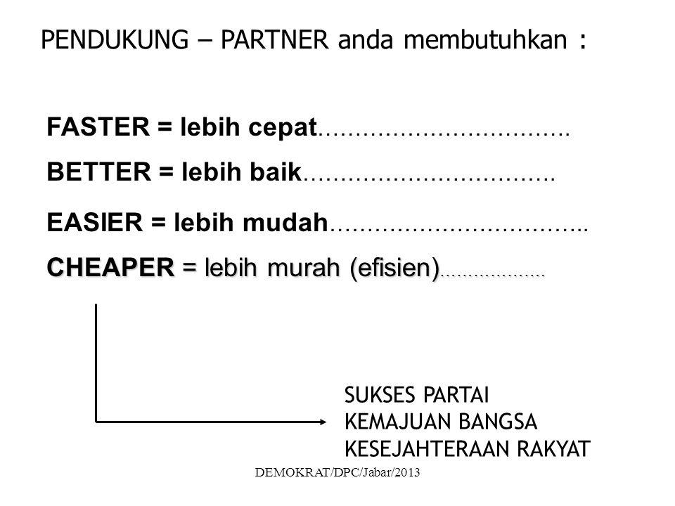 DEMOKRAT/DPC/Jabar/2013 PENDUKUNG – PARTNER anda membutuhkan : FASTER = lebih cepat …………………………….