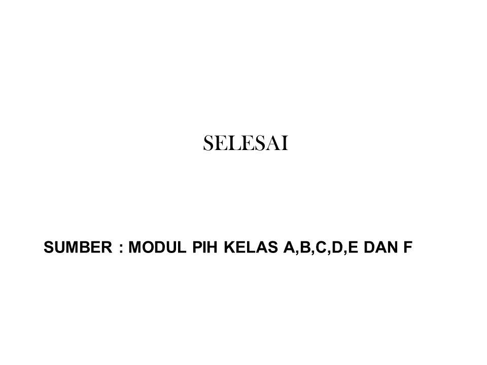 SUMBER : MODUL PIH KELAS A,B,C,D,E DAN F SELESAI