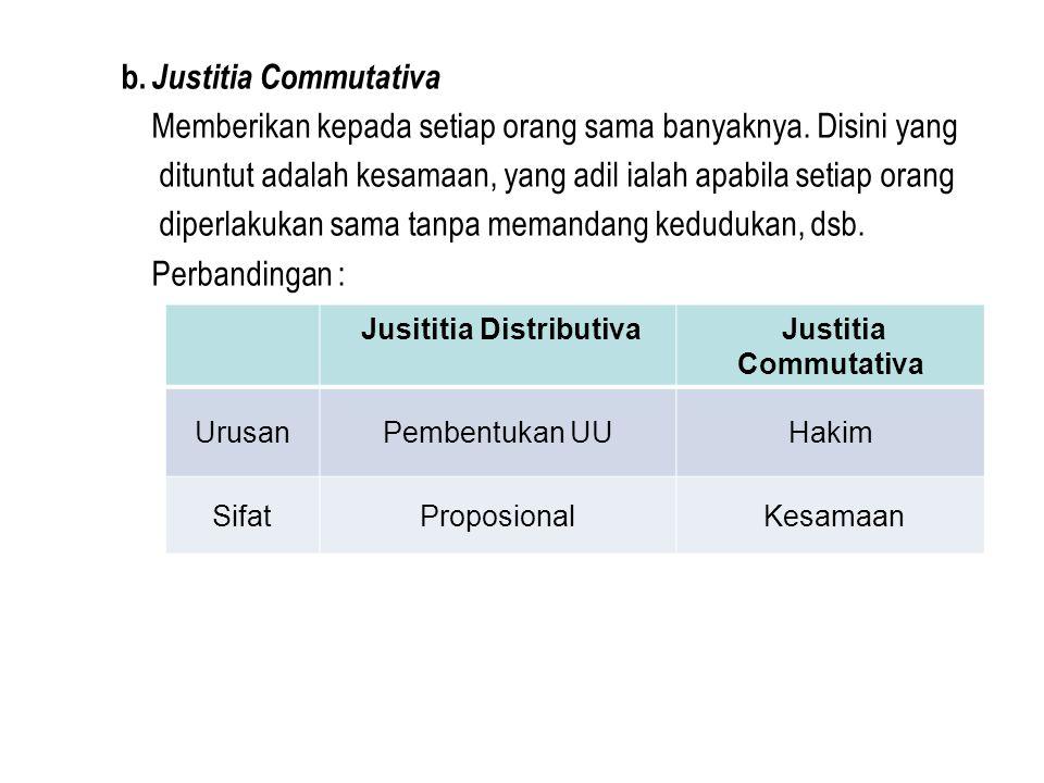 b. Justitia Commutativa Memberikan kepada setiap orang sama banyaknya. Disini yang dituntut adalah kesamaan, yang adil ialah apabila setiap orang dipe
