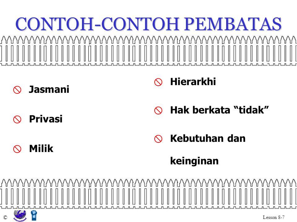 CONTOH-CONTOH PEMBATAS © Lesson 8-7  Jasmani  Privasi  Milik  Hierarkhi  Hak berkata tidak  Kebutuhan dan keinginan