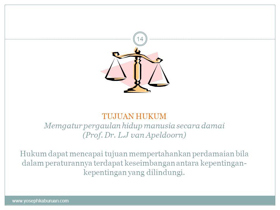 TUJUAN HUKUM Memgatur pergaulan hidup manusia secara damai (Prof. Dr. L.J van Apeldoorn) Hukum dapat mencapai tujuan mempertahankan perdamaian bila da