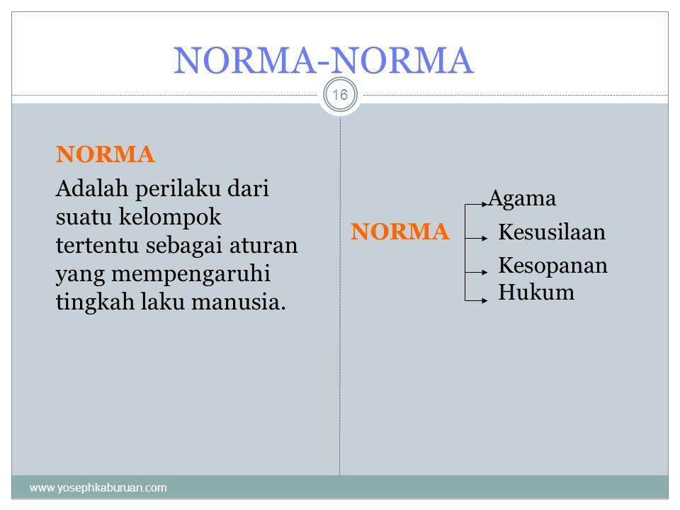 NORMA-NORMA 16 NORMA Adalah perilaku dari suatu kelompok tertentu sebagai aturan yang mempengaruhi tingkah laku manusia. Agama NORMA Kesusilaan Kesopa