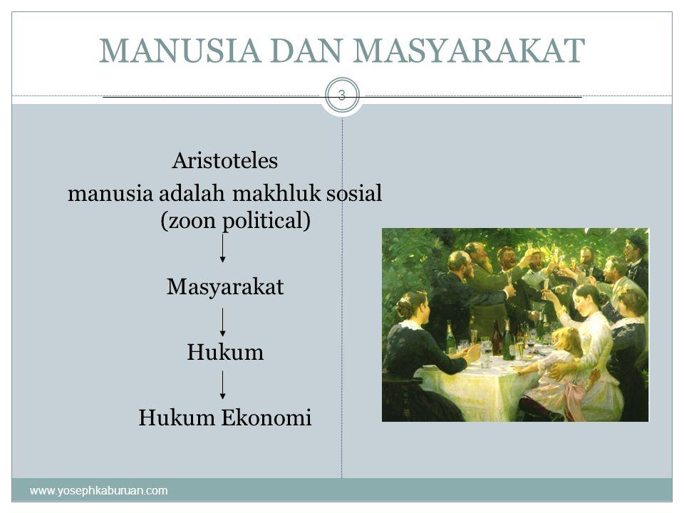 MANUSIA DAN MASYARAKAT 3 Aristoteles manusia adalah makhluk sosial (zoon political) Masyarakat Hukum Hukum Ekonomi www.yosephkaburuan.com
