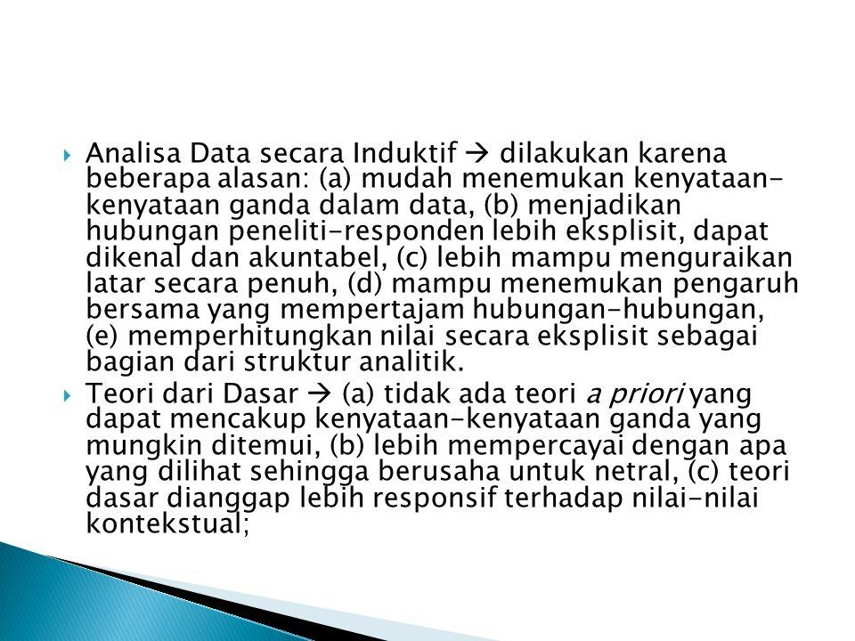  Analisa Data secara Induktif  dilakukan karena beberapa alasan: (a) mudah menemukan kenyataan- kenyataan ganda dalam data, (b) menjadikan hubungan