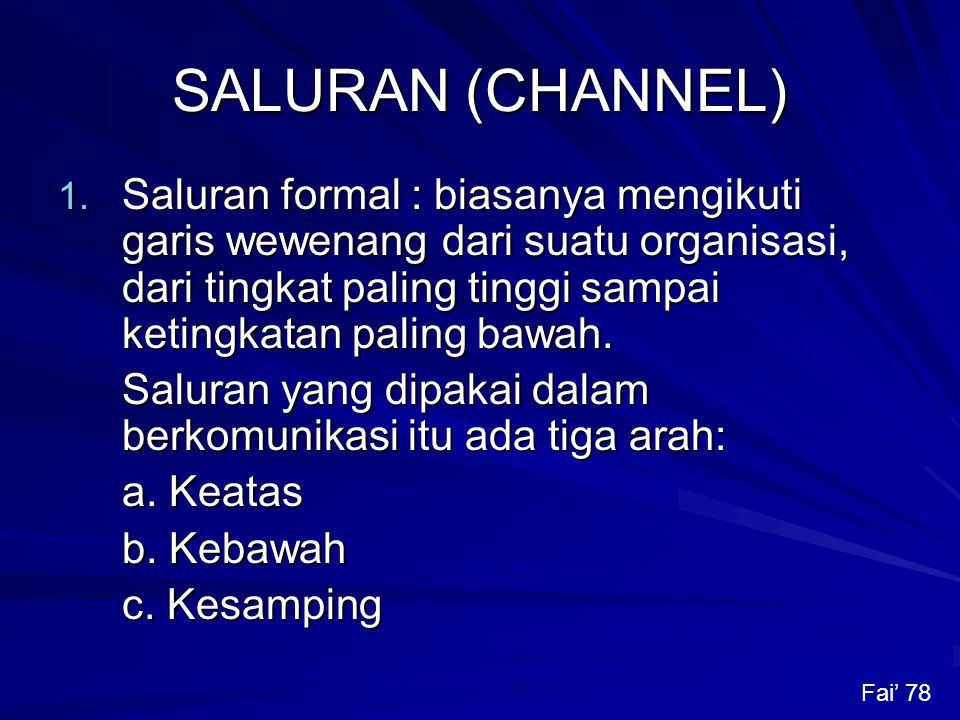SALURAN (CHANNEL) 1.