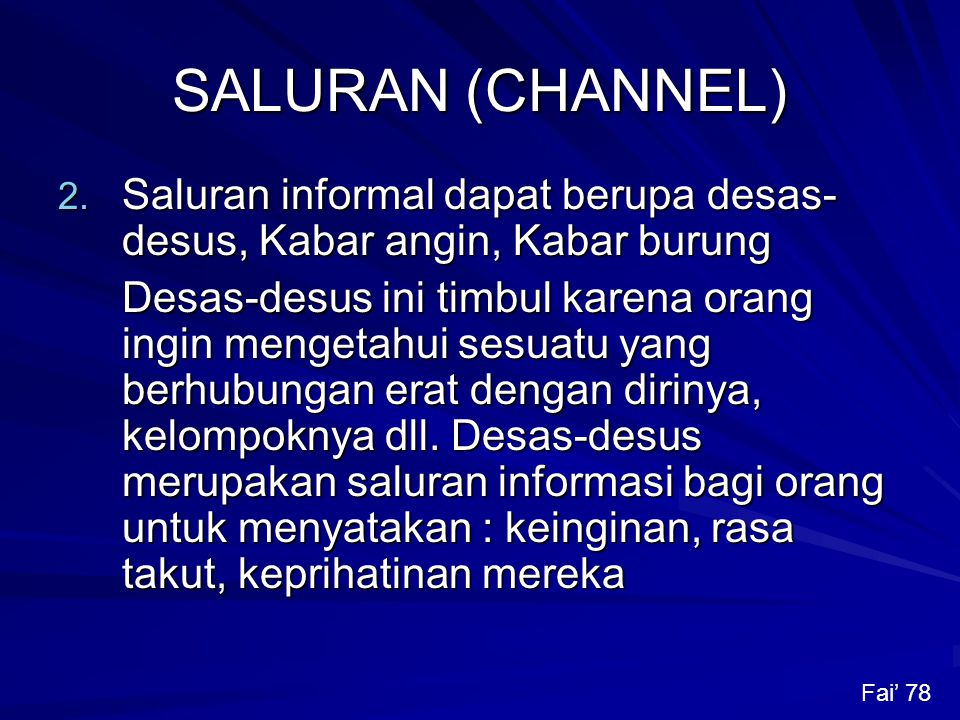 SALURAN (CHANNEL) 2.