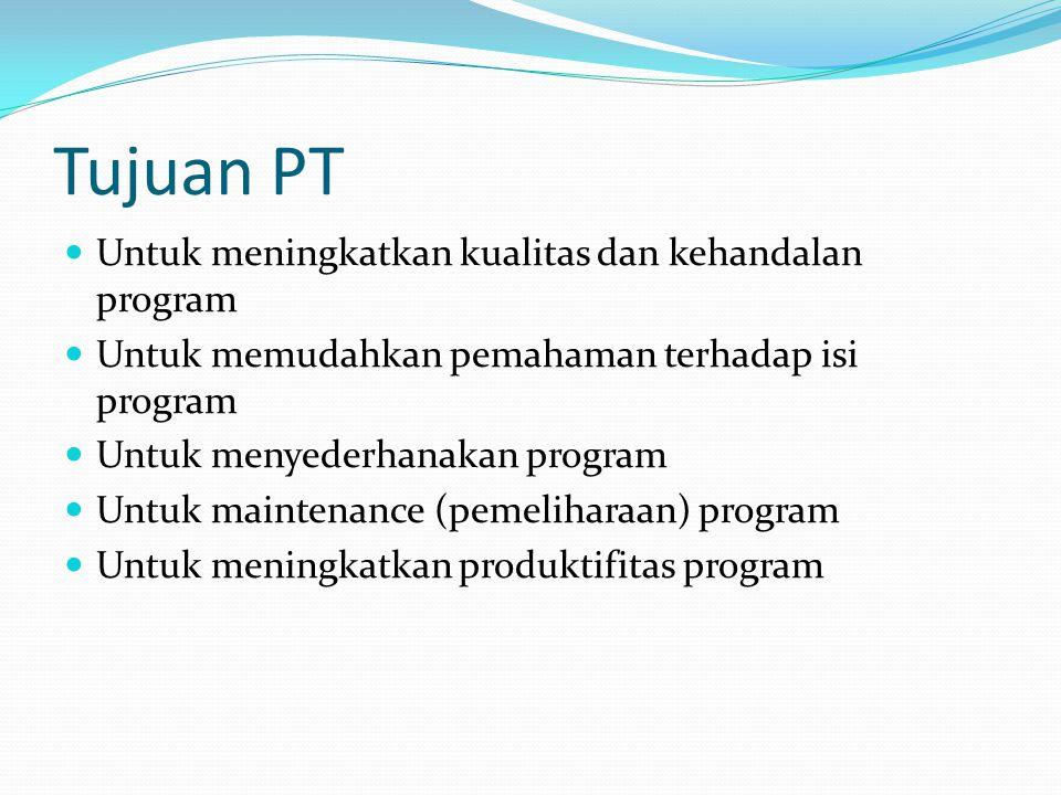 Tujuan PT Untuk meningkatkan kualitas dan kehandalan program Untuk memudahkan pemahaman terhadap isi program Untuk menyederhanakan program Untuk maint