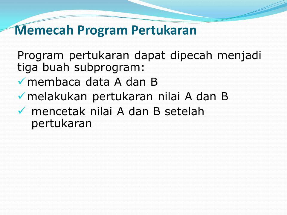 Memecah Program Pertukaran Program pertukaran dapat dipecah menjadi tiga buah subprogram: membaca data A dan B melakukan pertukaran nilai A dan B menc