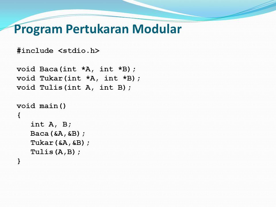 Program Pertukaran Modular #include void Baca(int *A, int *B); void Tukar(int *A, int *B); void Tulis(int A, int B); void main() { int A, B; Baca(&A,&