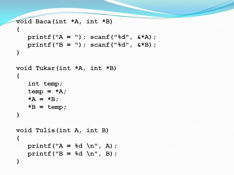 void Baca(int *A, int *B) { printf(