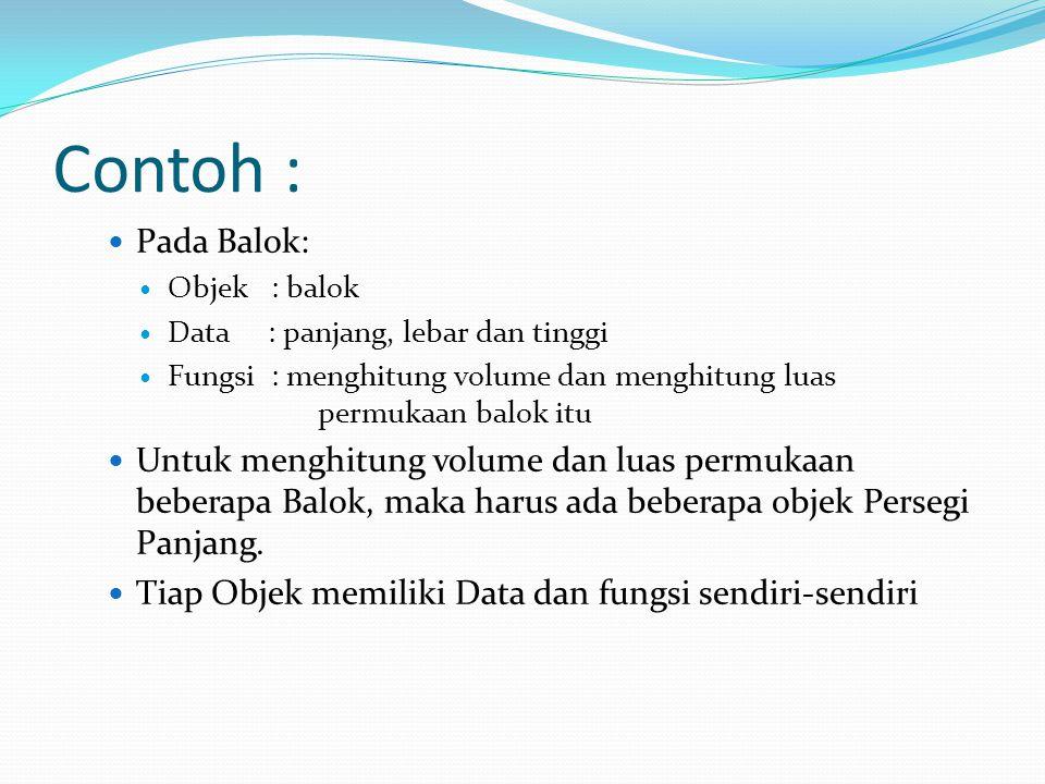 Contoh : Pada Balok: Objek : balok Data : panjang, lebar dan tinggi Fungsi : menghitung volume dan menghitung luas permukaan balok itu Untuk menghitun