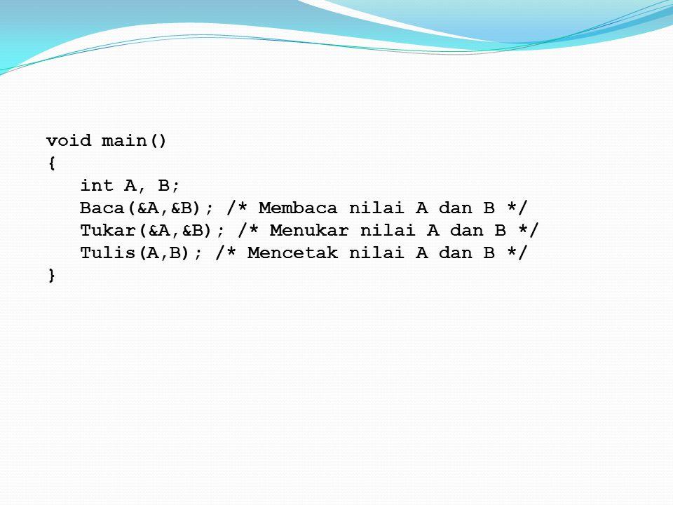 void main() { int A, B; Baca(&A,&B); /* Membaca nilai A dan B */ Tukar(&A,&B); /* Menukar nilai A dan B */ Tulis(A,B); /* Mencetak nilai A dan B */ }