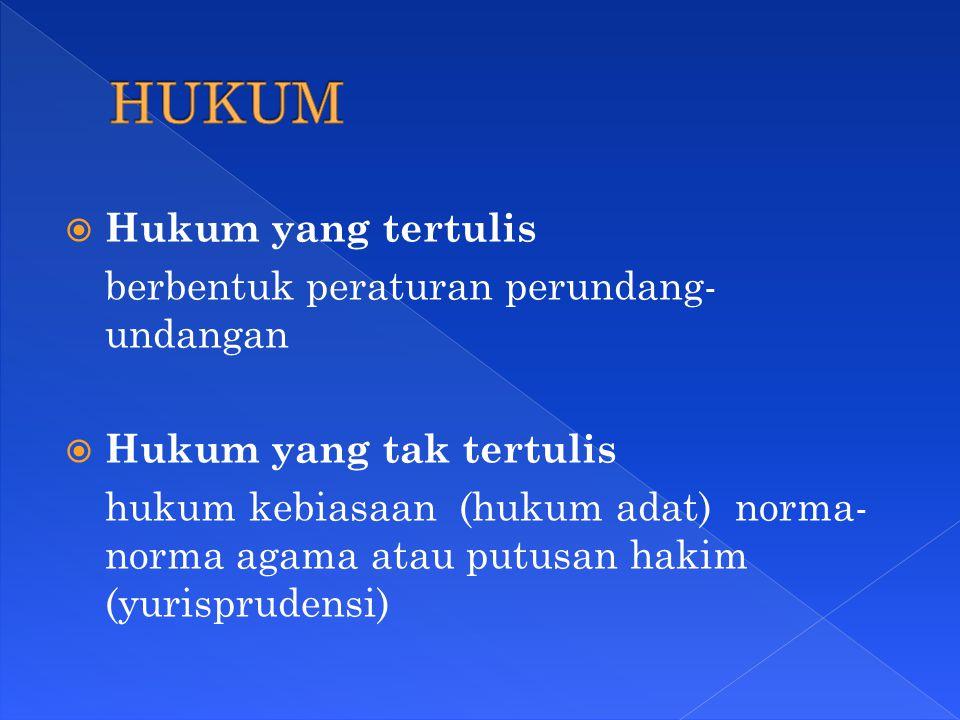  Hukum yang tertulis berbentuk peraturan perundang- undangan  Hukum yang tak tertulis hukum kebiasaan (hukum adat) norma- norma agama atau putusan h