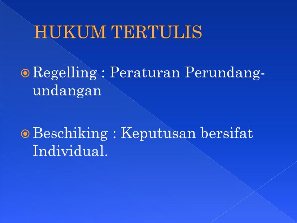  Regelling : Peraturan Perundang- undangan  Beschiking : Keputusan bersifat Individual.