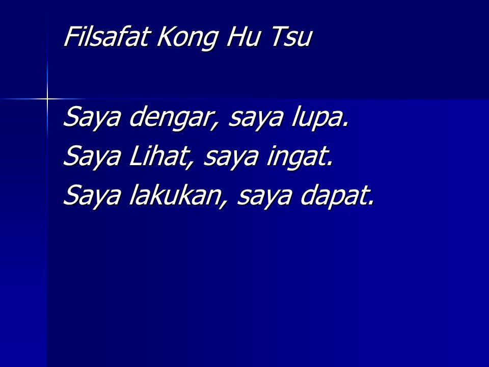 Filsafat Kong Hu Tsu Saya dengar, saya lupa. Saya Lihat, saya ingat. Saya lakukan, saya dapat.