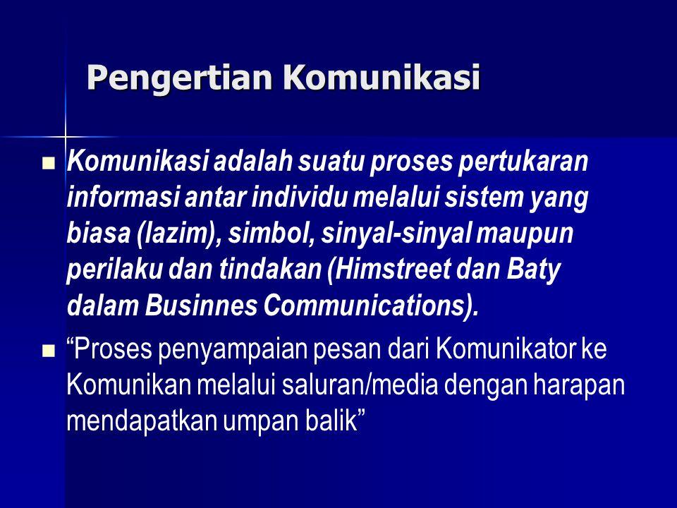 Pengertian Komunikasi Komunikasi adalah suatu proses pertukaran informasi antar individu melalui sistem yang biasa (lazim), simbol, sinyal-sinyal maup